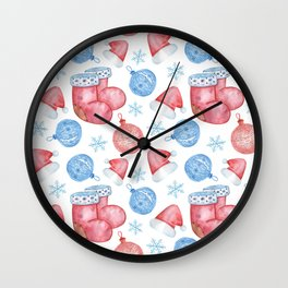 Watercolor Christmas pattern of Christmas balls, red caps and snowflakes Wall Clock