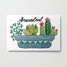 Hand Embroidery Succulent Pot Metal Print