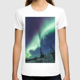 Northern Lights and shooting stars T-shirt