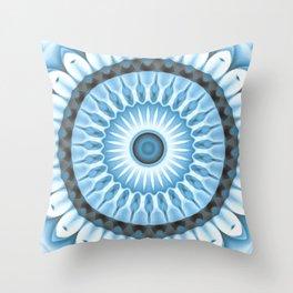 Denim Daisy Kaleidoscope Throw Pillow