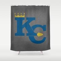 kansas city Shower Curtains featuring Kansas City Sports Blue by Haley Jo Phoenix