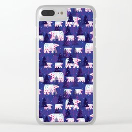Polar Bears in the Forest - Blue Clear iPhone Case