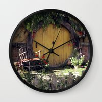 hobbit Wall Clocks featuring The Hobbit by Cynthia del Rio