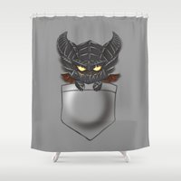 warcraft Shower Curtains featuring Dragon Pocket Tee by SlothgirlArt