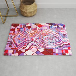 Bold Abstract Vintage Rug Pattern in Pinks  Rug