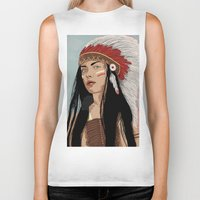 headdress Biker Tanks featuring Girl in Headdress  by Stranger Designs
