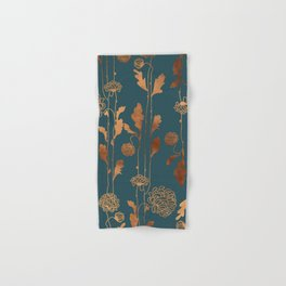 Art Deco Copper Flowers  Hand & Bath Towel