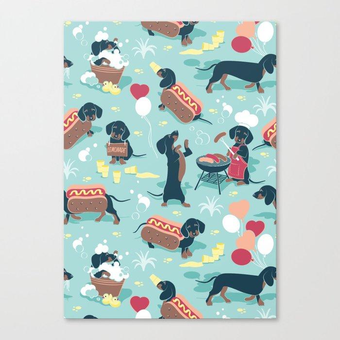 Hot dogs and lemonade // aqua background navy dachshunds Canvas Print