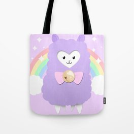 Sparkly Alpaca Rainbow Tote Bag