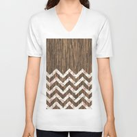 preppy V-neck T-shirts featuring Vintage Preppy Floral Chevron Pattern Brown Wood by Girly Road