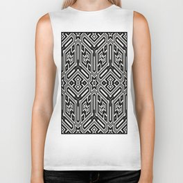 grid black white 3 Biker Tank