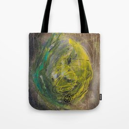 Lime spray painting on canvas, handmade Tote Bag