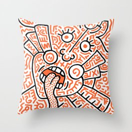 """""""The Face"""" - inspired by Keith Haring v. orange Throw Pillow"""