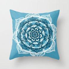 Mandala on Blue Linen Throw Pillow