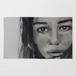Watercolor portrait beautiful girl with dark hair Rug