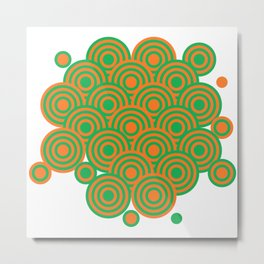 op art pattern retro circles in green and orange Metal Print