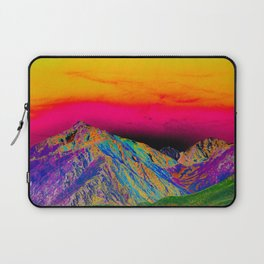 California's Sierra Mts-Digital Art, Green & Purple Laptop Sleeve