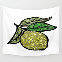 lemon Wall Tapestries featuring Lemon  by Kris LeGates