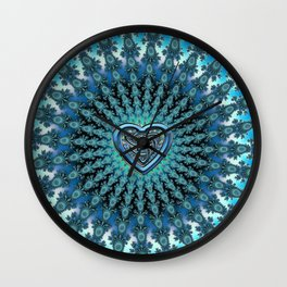 Celtic Heart Knot Fractal Mandala Wall Clock