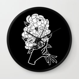 Peony Floral Bouquet Wall Clock