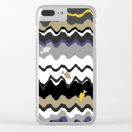 Black And White Under Water Waves With Fish Clear iPhone Case