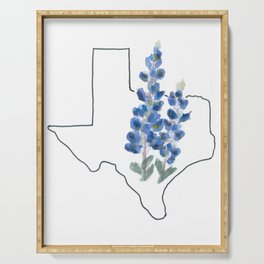 texas // watercolor bluebonnet state flower map Serving Tray