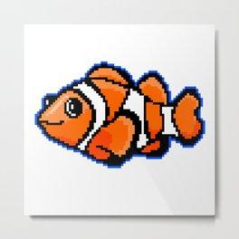 8-Bit Pixel Art Clown Fish Metal Print