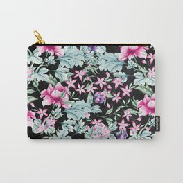 Floral Pattern 1 Black Carry-All Pouch