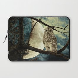 Barred Owl Bird Night Moon Blue Tans Country Art A137 Laptop Sleeve