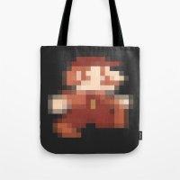mario Tote Bags featuring Mario by Richard Howard