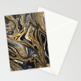 Black and Gold Liquid Marble Stationery Cards