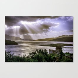 Sun Rays over Eilean Donan Castle Canvas Print