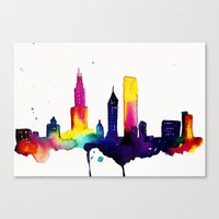 chicago map Canvas Prints featuring Chicago  by Talula Christian