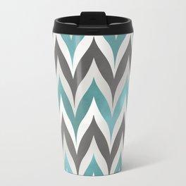 Chevron Aqua Grey Travel Mug