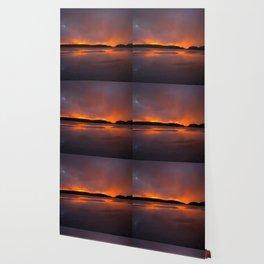 Sunset With Orange Sky Reflections On The Icy Lake #decor #society6 #homedecor #buyart Wallpaper