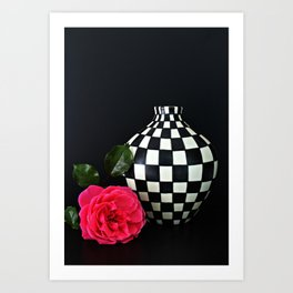 Pink Rose and a Checkered Vase Still Life Art Print