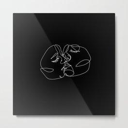 black single line kiss Metal Print