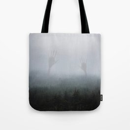 Mysterious hands in the fog Tote Bag