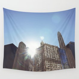 The Sun Piercing the Chicago City Skyline Wall Tapestry