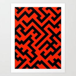 Black and Scarlet Red Diagonal Labyrinth Art Print