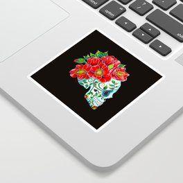Sugar Skull with Red Poppies Sticker