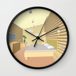 illustration of the hotel room of round wooden logs Wall Clock
