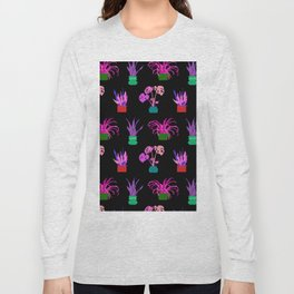 Simple Potted Plants in Black Long Sleeve T-shirt
