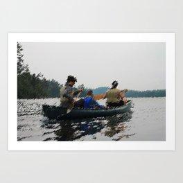 Canoe boys Art Print