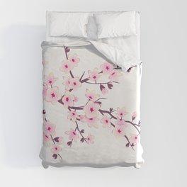 Cherry Blossom Pink White Duvet Cover