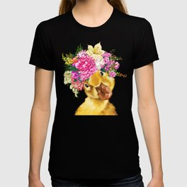 Flower Crown Baby Duck in Pink T-shirt