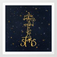 Darkness-Stars - sparkling night gold glitter typography Art Print