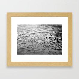 Black and white raindrops Framed Art Print
