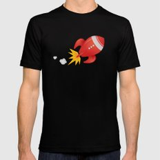 Retro Rocket Blast Off SMALL Mens Fitted Tee Black
