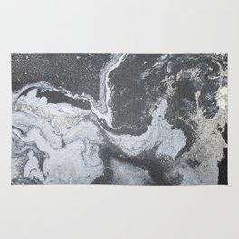 -Black and white acrylic marbling Rug